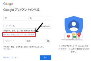 googleアカウント既存のメールアドレスを使う