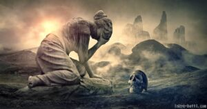 泣き崩れる女性と頭部の骸骨